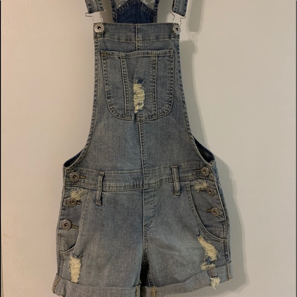 Distressed Guess Denim Overalls XS